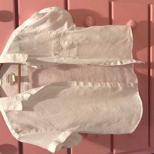 100% linen white box short cuff sleeves shirt